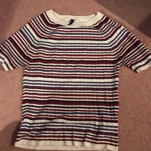 H&M Red, Blue, White, and Black Striped Shirt